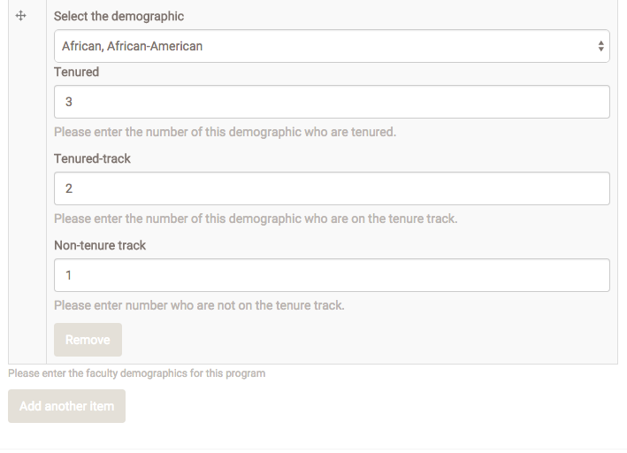 "In this example, select the demographic category, complete the data, then click ""Add another item."""